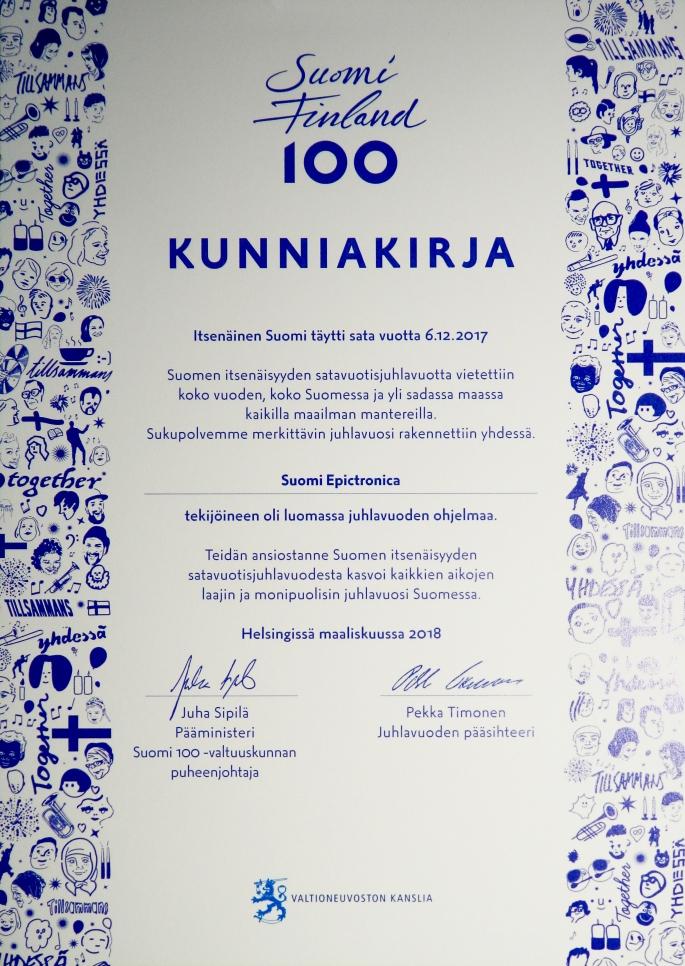 Suomi Epictronica, Suomi100 Kunniakirja